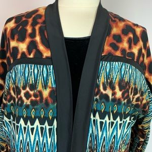 Rafaella Animal Print Open Front Cardigan M